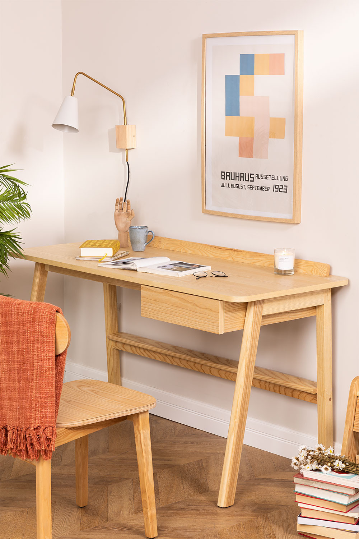 Amde Ash Wood Desk with Drawer, gallery image 1