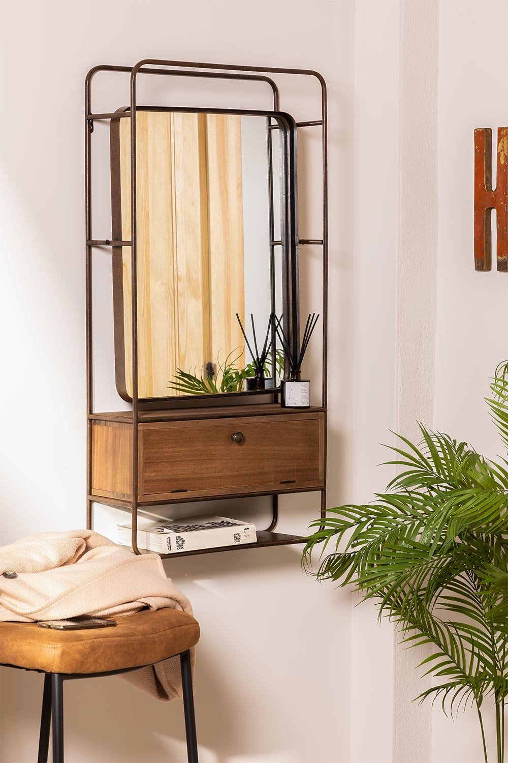 Rectangular Wall Mirror with Wooden Metal Drawer (99x50 cm) Oyan, gallery image 1
