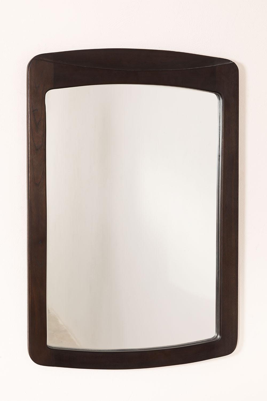 Teak Wood Wall Mirror (90x60 cm) Somy, gallery image 1