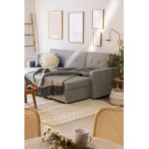 3-Seater Interchangeable Linen  Chaise Longue- Sofa Bed Duom, thumbnail image 3