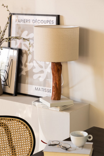 Table Lamp in Fabric and Lobra Wood