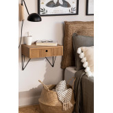 Wall-mounted Bedside Table with Drawer in Ash Wood 41 cm Glai, thumbnail image 1