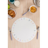 Individual Round Vinyl Tablecloth Letters Kids, thumbnail image 1