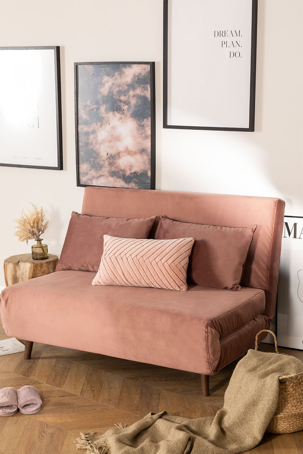2 Seater Velvet Sofa Bed Elen, gallery image 1