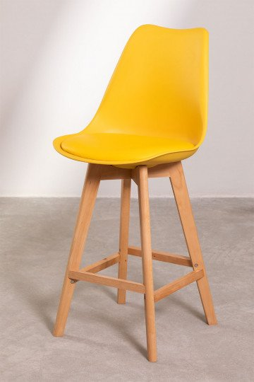 Pack 4 Medium Stools with Upholstered Cushion Nordic SK