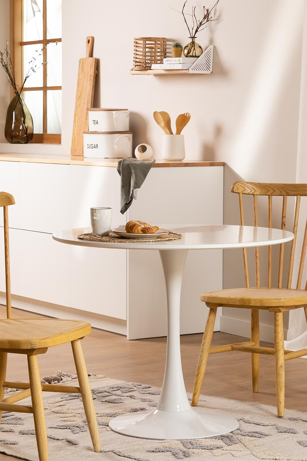 Round Dining Table in MDF and Metal Tuhl Style, gallery image 1
