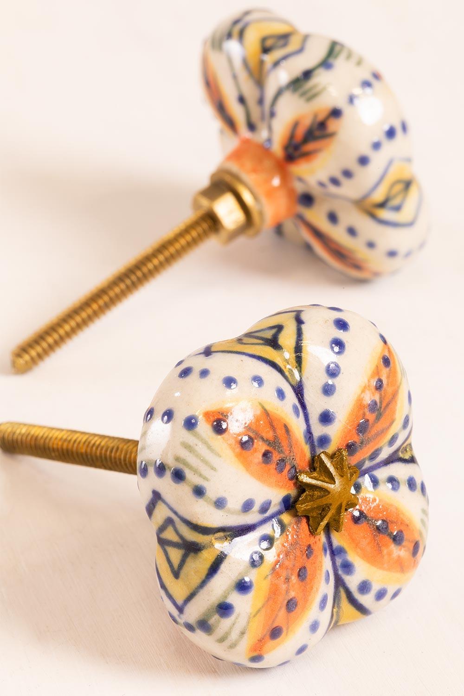Set of 2 Ceramic Knobs Flowe, gallery image 1