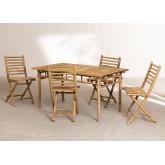 Marilin Bamboo Garden Table and 4 Chairs Set, thumbnail image 2