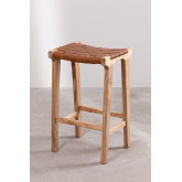 Zaid Wood and Leather Stool, thumbnail image 2