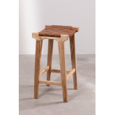 Zaid Wood and Leather Stool, thumbnail image 3