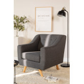Fabric and Linen Armchair Bermy, thumbnail image 1