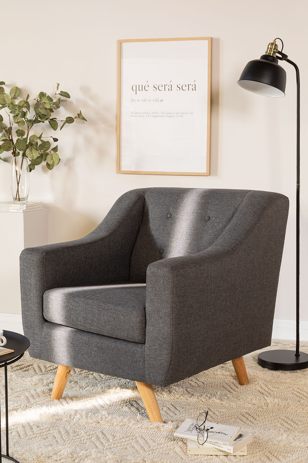 Fabric and Linen Armchair Bermy, gallery image 1
