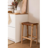 Zaid Wood and Leather Stool, thumbnail image 1