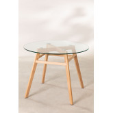 Dining Table in Glass and Beech Wood (Ø80 -Ø120 cm) Scand Nordic  , thumbnail image 2