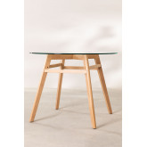 Dining Table in Glass and Beech Wood (Ø80 -Ø120 cm) Scand Nordic  , thumbnail image 3