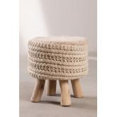 Round Wool & Wooden Stool Jein, thumbnail image 969704