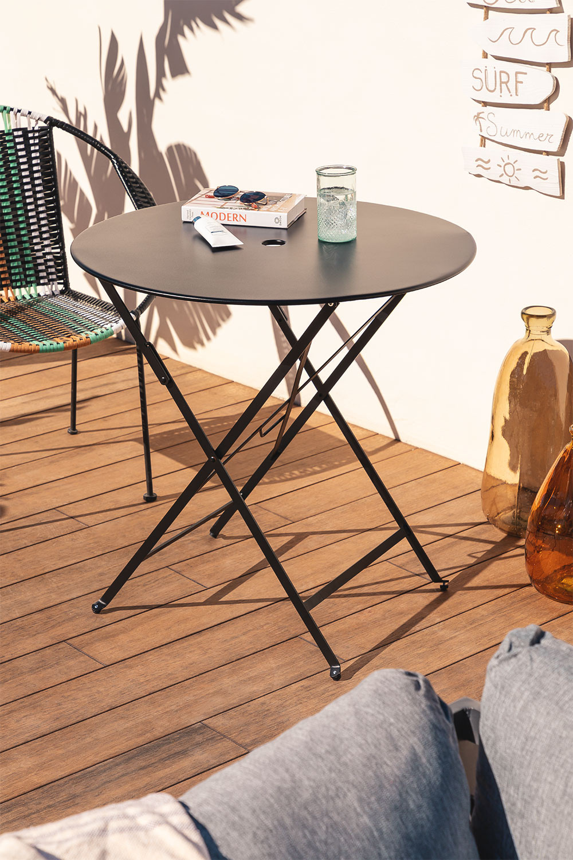 Dreh Folding Steel Garden Table (Ø77 cm) , gallery image 1