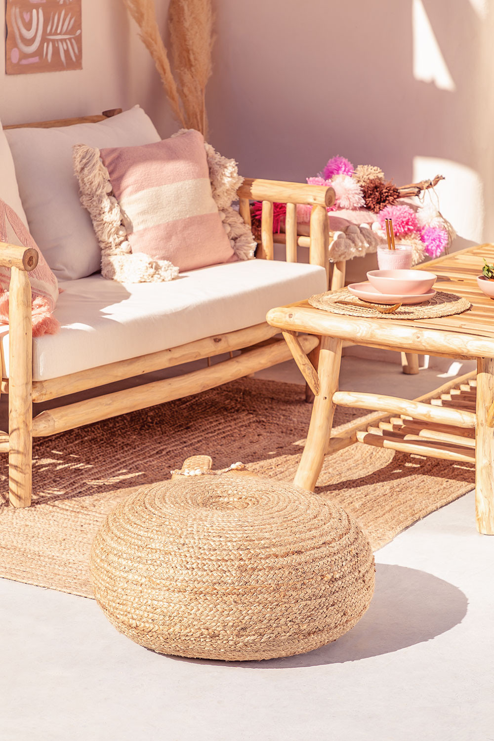 Jute Round Pouffe Pilew, gallery image 1
