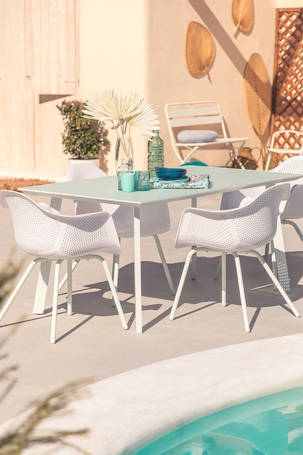 Outdoor Steel & Glass  Table (160x90 cm) Adel, gallery image 1