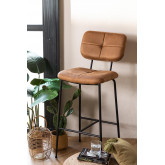 High Stool with Back in Leatherette Ospi, thumbnail image 1