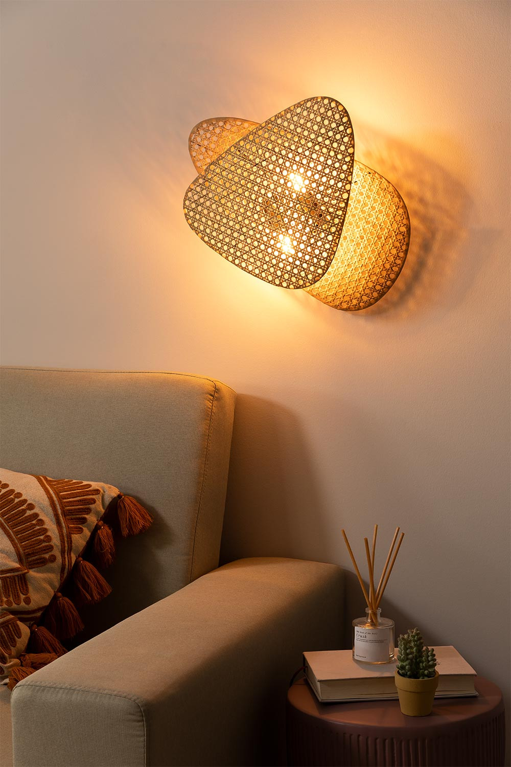 Ruly Rattan Wall Sconce, gallery image 1