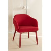 Poles Wood Dining Chair with Armrests, thumbnail image 2