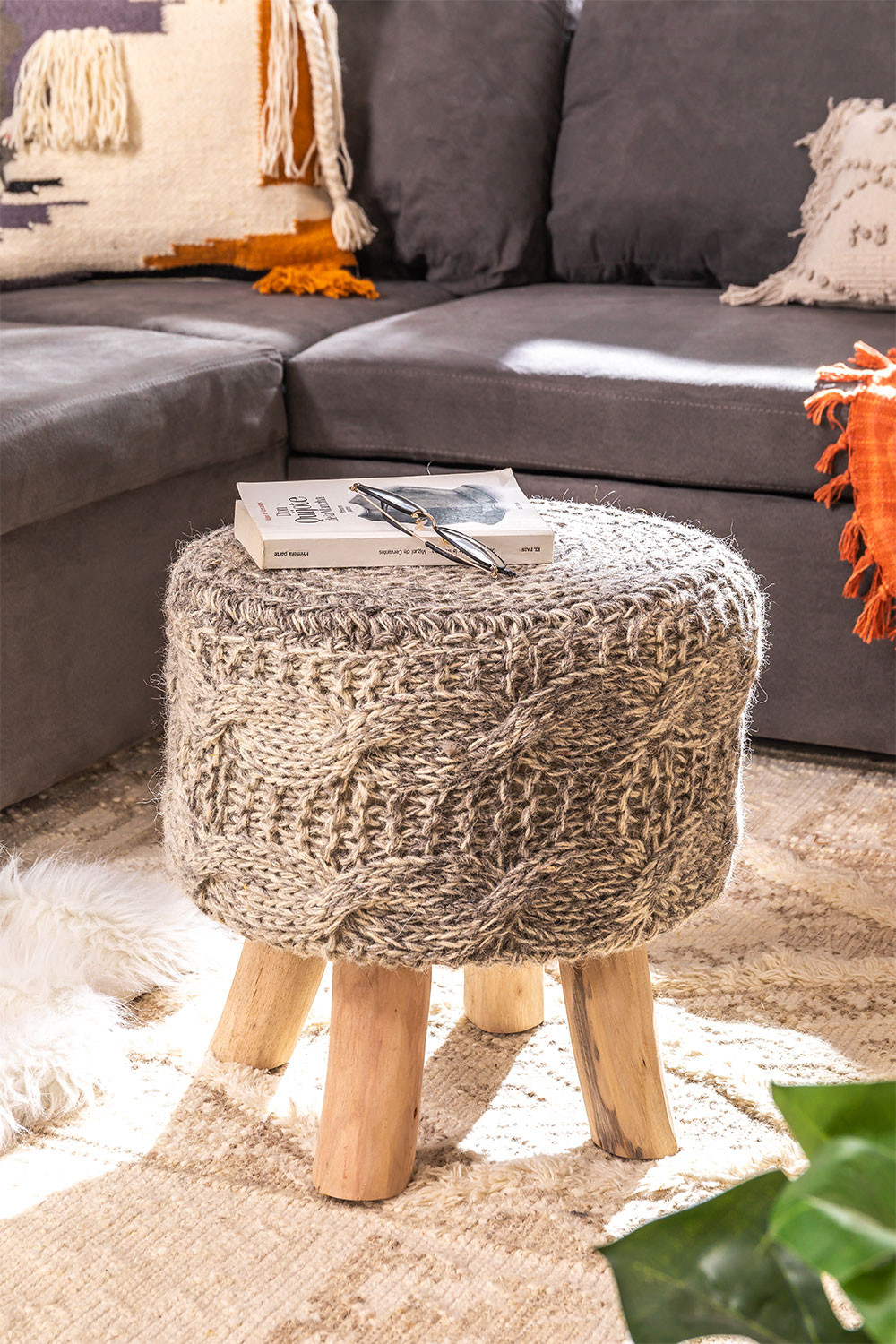 Low Round Wool &Wooden Stool Rixar, gallery image 1