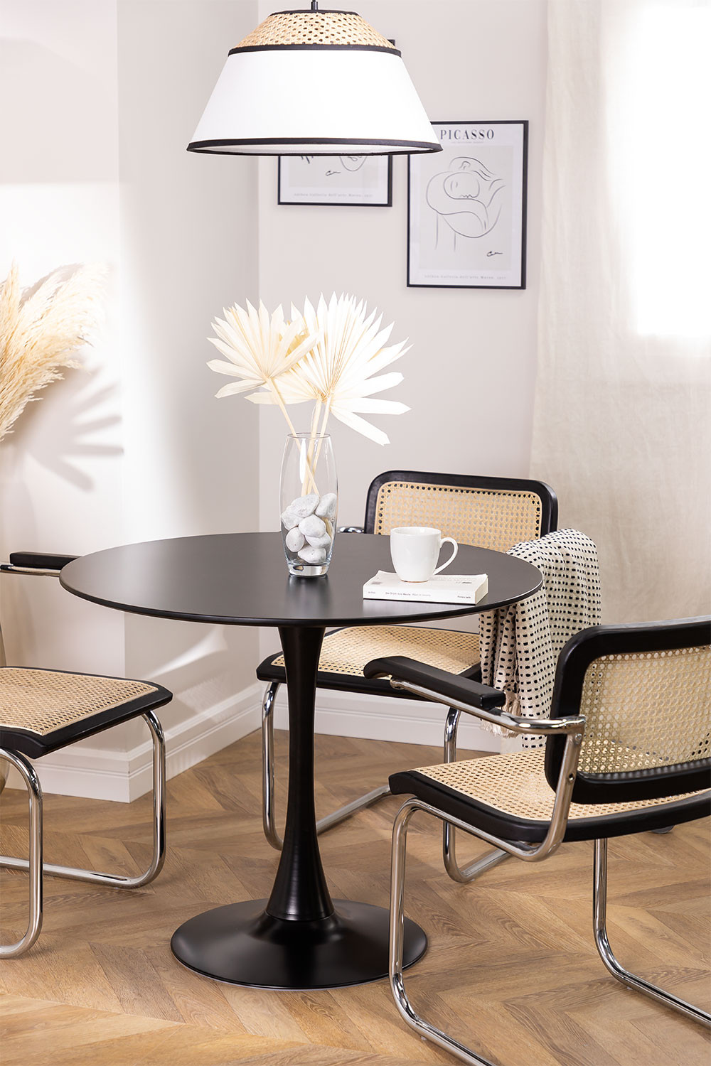 Round Dining Table in MDF and Metal (Ø90 cm) Tuhl, gallery image 1