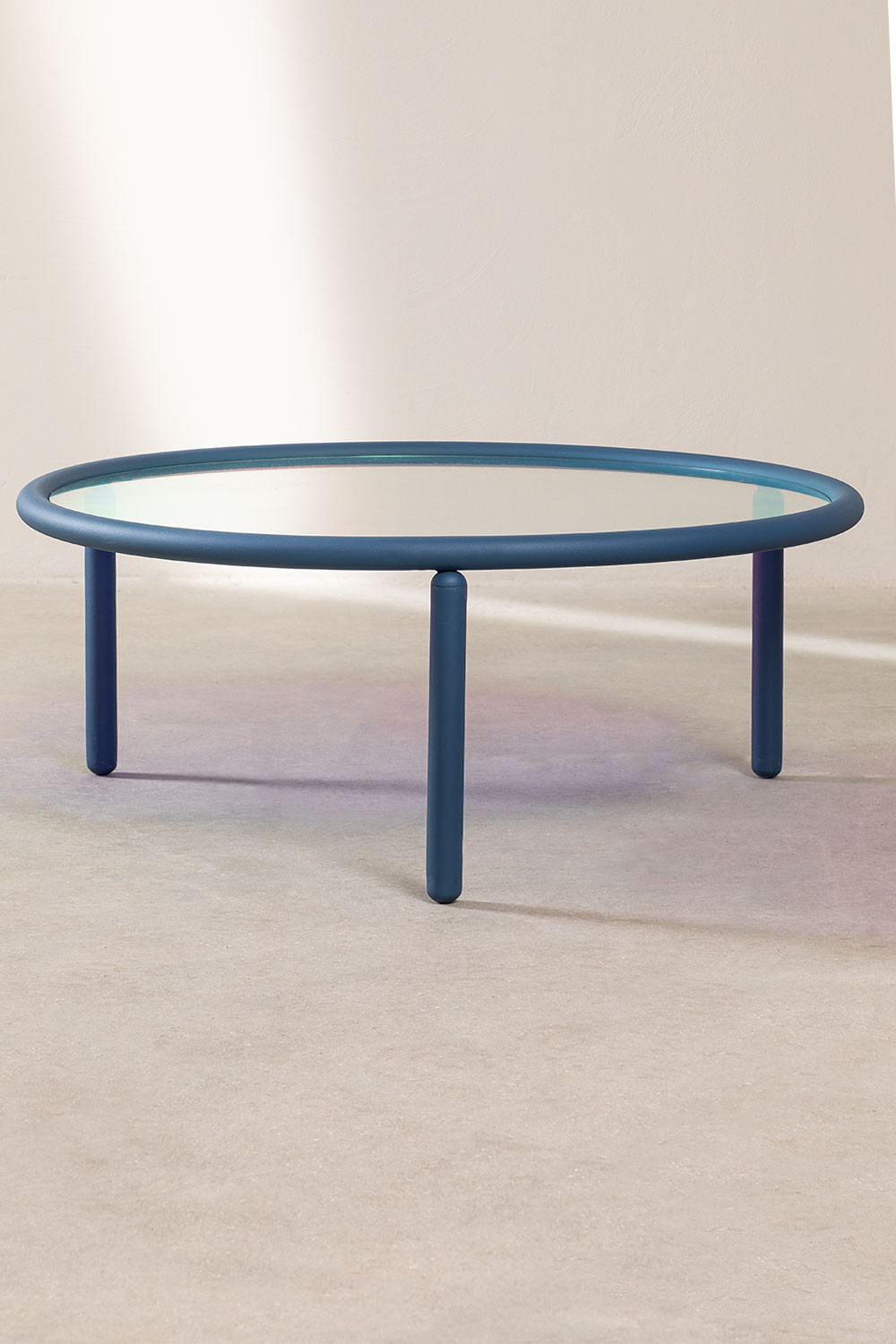 Center Table in Iridescent Glass & Steel Disk, gallery image 1