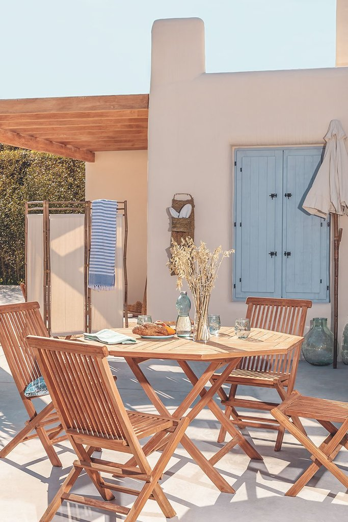 Set of Folding Garden Table and 4 Chairs in Teak Wood Pira, gallery image 1