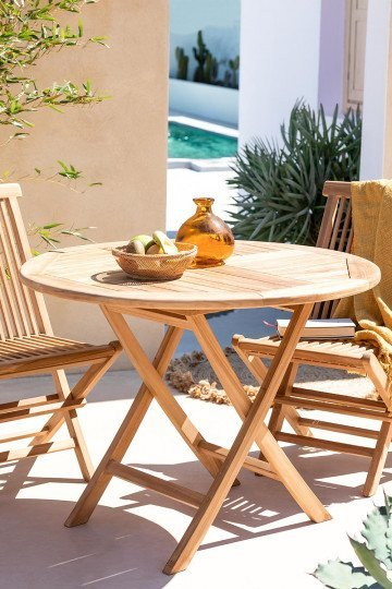 Outdoor Table Sklum, Round Wooden Garden Table And Chairs Ireland