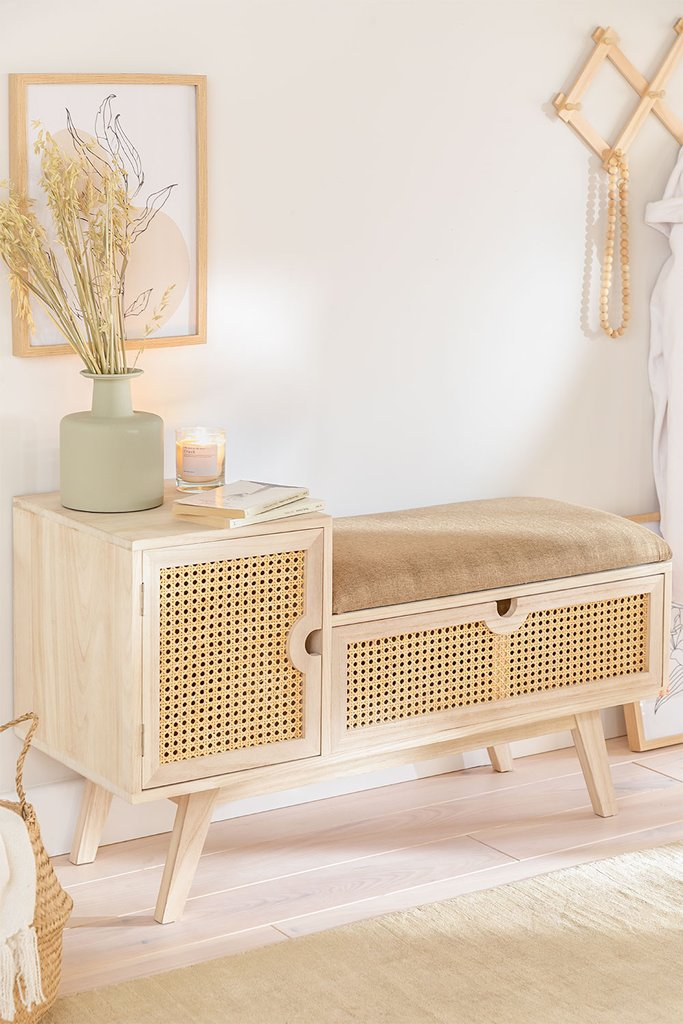 Wooden Bench with Storage Ralik Style, gallery image 1