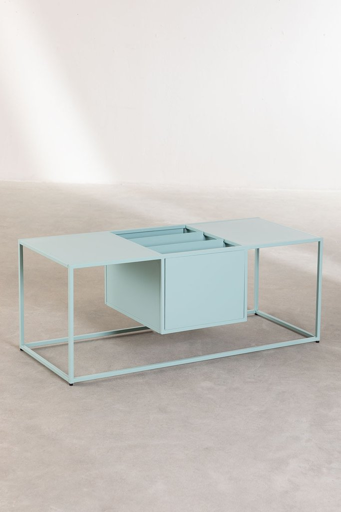 Coffee Table with Magazine Rack in Metal Blas, gallery image 1