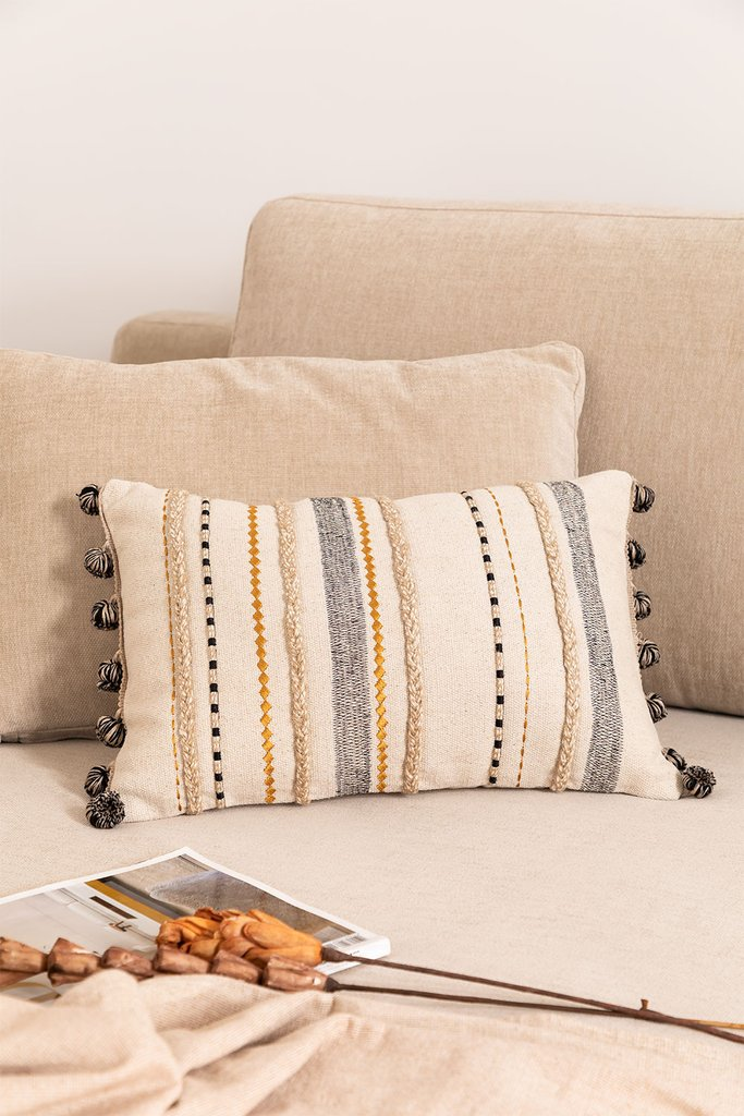 Cotton Embroidery Cushion (30x45 cm) Elmer, gallery image 1