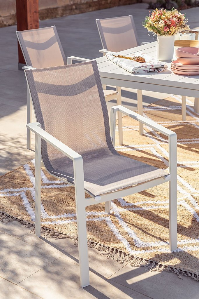 Pack 4 Outdoor Chairs in Aluminum Eika, gallery image 1
