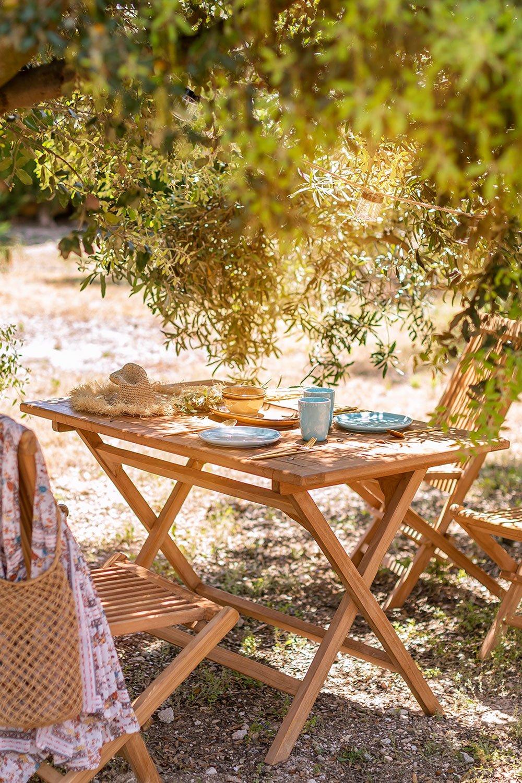 Folding Garden Table in Teak Wood (120x70 cm) Pira, gallery image 1
