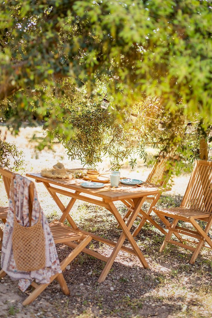 Folding Garden Set of Rectangular Table and 4 Chairs in Teak Wood Pira, gallery image 1