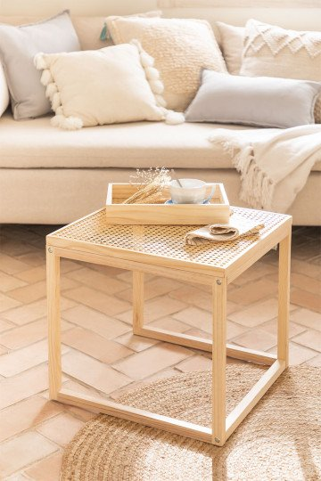Side Table in Rattan and Riolut Wood