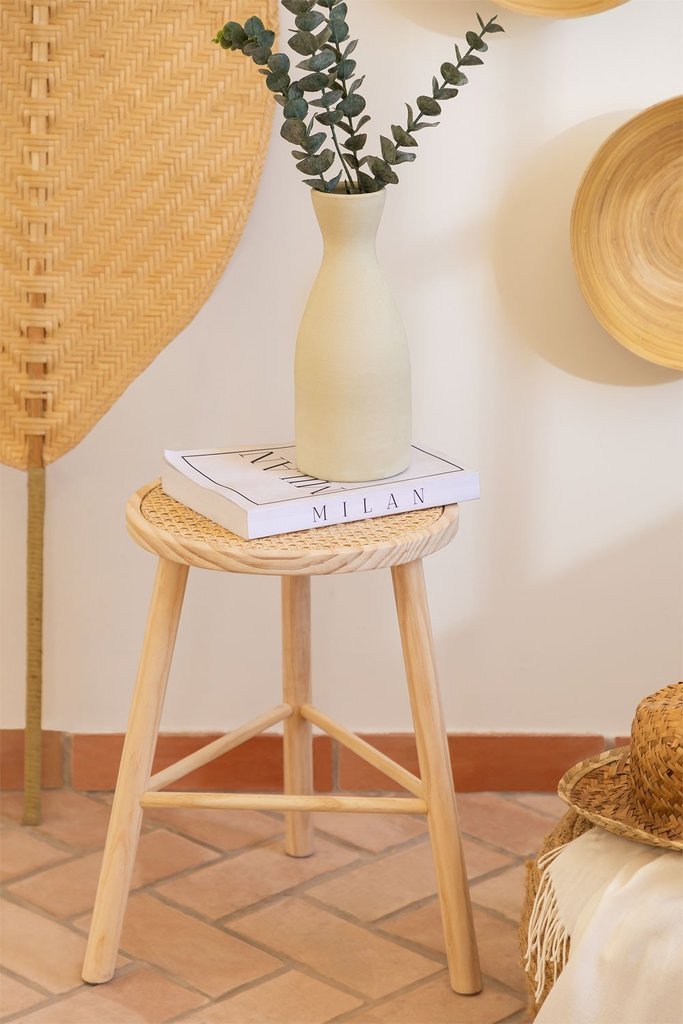 Low Stool in Rattan and Riolut Wood, gallery image 1