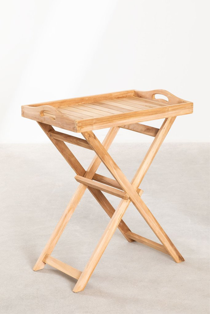 Gustav Teak Wood Side Table with Tray for Garden, gallery image 1