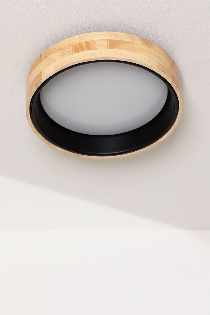 LED Ceiling Light Balto in Wood and Steel , gallery image 1