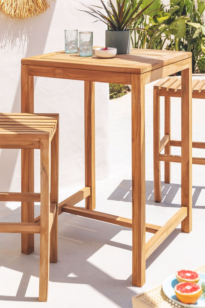 Square Garden High Table in Teak Wood Pira, gallery image 1
