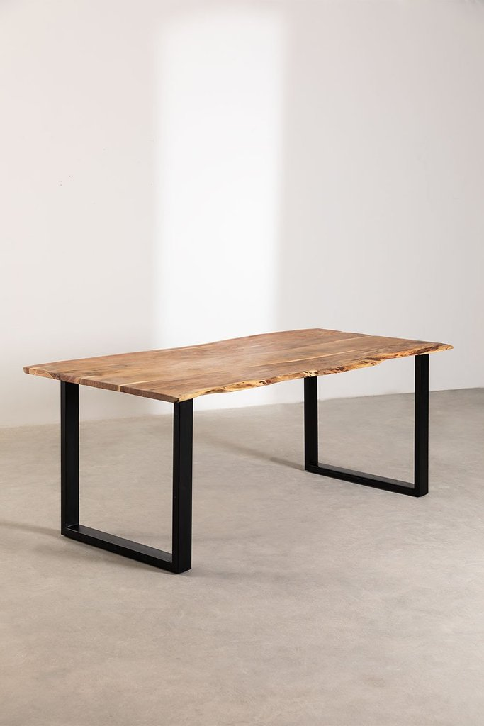 Rectangular Dining Table in Recycled Wood 210 cm Sami, gallery image 1