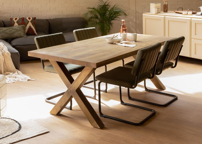 Mango Wood Dining Table (190x90 cm) Moshit Natural, gallery image 1