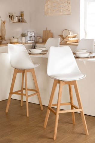 Pack 4 High Stools with Cushion Upholstered in Nordic SK Leatherette