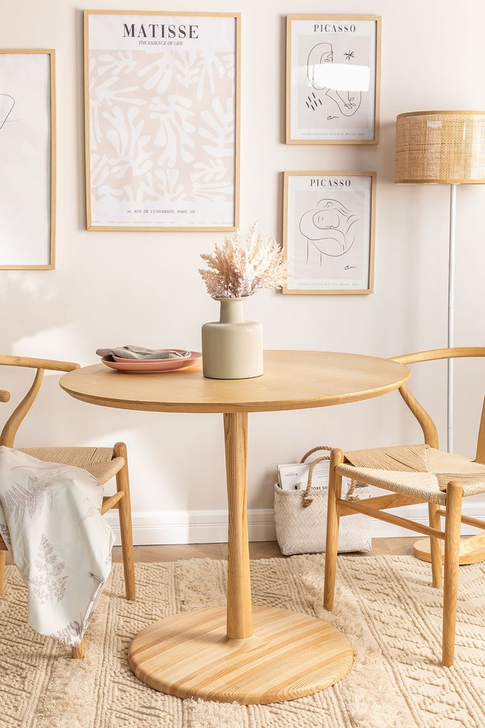 Round Dining Table in Tuhl Ash Wood, gallery image 1