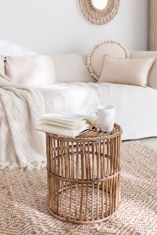 Round Qamish Bamboo Side Table