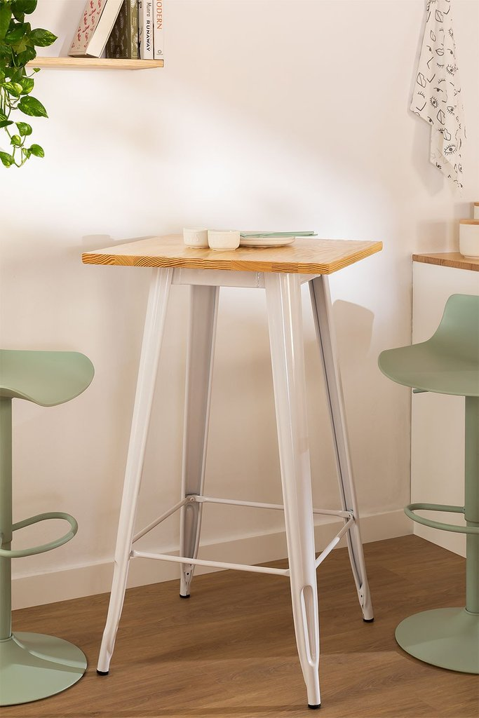 Square High Table in Wood and Steel (60x60 cm) LIX, gallery image 1