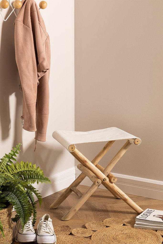 Low Foldable Teak Wood Stool Narel, gallery image 1
