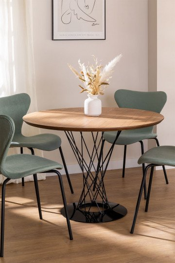 Round MDF Dining Table & Steel (Ø100 cm) Laho